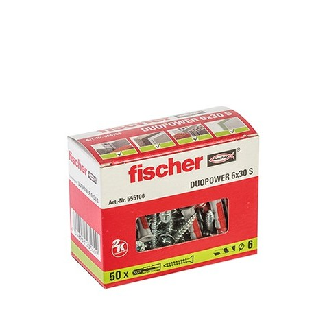 CAJA TACO DUOPOWER 6 x 30 + TORNILLO FISCHER (50 UDS.)