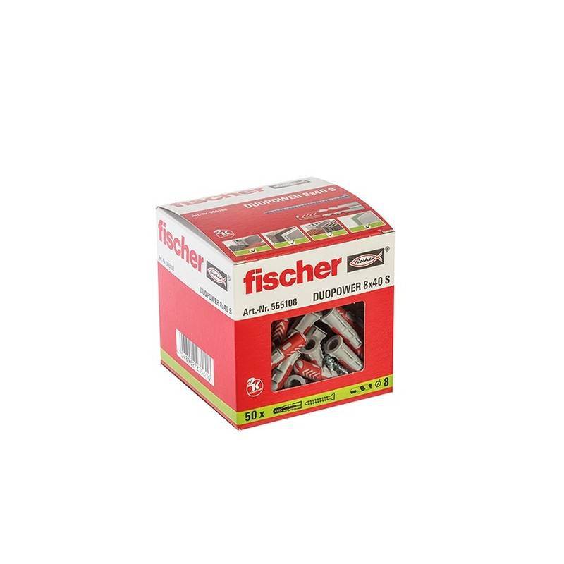 CAJA TACO DUOPOWER 8x40 + TORNILLO FISCHER (50 UDS.)